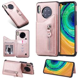 Retro Buckle Zipper Anti-fall Leather Phone Back Cover for Huawei Mate 30 - Pink