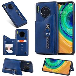Retro Buckle Zipper Anti-fall Leather Phone Back Cover for Huawei Mate 30 - Blue