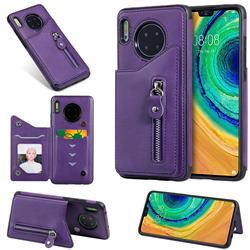 Retro Buckle Zipper Anti-fall Leather Phone Back Cover for Huawei Mate 30 - Purple