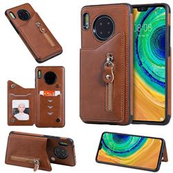 Retro Buckle Zipper Anti-fall Leather Phone Back Cover for Huawei Mate 30 - Brown