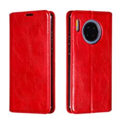 Retro Slim Magnetic Crazy Horse PU Leather Wallet Case for Huawei Mate 30 - Red