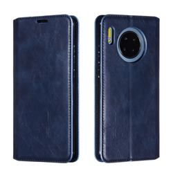 Retro Slim Magnetic Crazy Horse PU Leather Wallet Case for Huawei Mate 30 - Blue