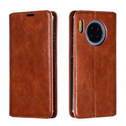 Retro Slim Magnetic Crazy Horse PU Leather Wallet Case for Huawei Mate 30 - Brown