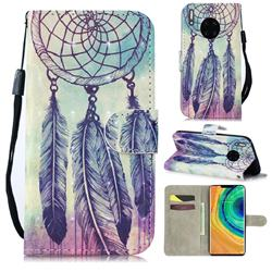 Feather Wind Chimes 3D Painted Leather Wallet Phone Case for Huawei Mate 30