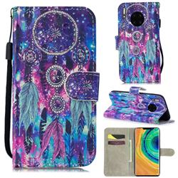 Star Wind Chimes 3D Painted Leather Wallet Phone Case for Huawei Mate 30