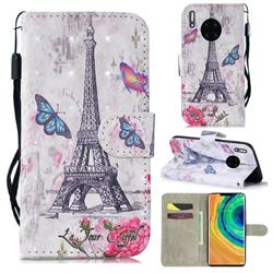 Paris Tower 3D Painted Leather Wallet Phone Case for Huawei Mate 30