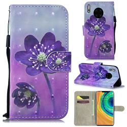 Purple Flower 3D Painted Leather Wallet Phone Case for Huawei Mate 30
