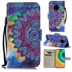 Oil Painting Mandala 3D Painted Leather Wallet Phone Case for Huawei Mate 30