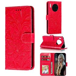 Intricate Embossing Lace Jasmine Flower Leather Wallet Case for Huawei Mate 30 - Red