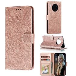 Intricate Embossing Lace Jasmine Flower Leather Wallet Case for Huawei Mate 30 - Rose Gold