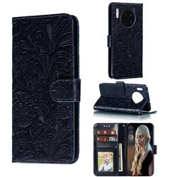 Intricate Embossing Lace Jasmine Flower Leather Wallet Case for Huawei Mate 30 - Dark Blue