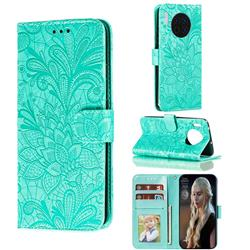 Intricate Embossing Lace Jasmine Flower Leather Wallet Case for Huawei Mate 30 - Green