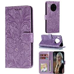 Intricate Embossing Lace Jasmine Flower Leather Wallet Case for Huawei Mate 30 - Purple