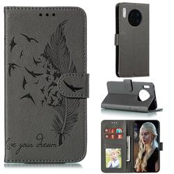 Intricate Embossing Lychee Feather Bird Leather Wallet Case for Huawei Mate 30 - Gray
