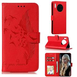 Intricate Embossing Lychee Feather Bird Leather Wallet Case for Huawei Mate 30 - Red