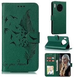 Intricate Embossing Lychee Feather Bird Leather Wallet Case for Huawei Mate 30 - Green