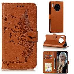 Intricate Embossing Lychee Feather Bird Leather Wallet Case for Huawei Mate 30 - Brown