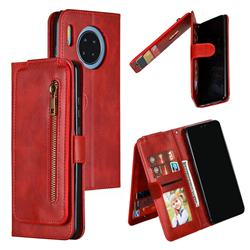 Multifunction 9 Cards Leather Zipper Wallet Phone Case for Huawei Mate 30 - Red