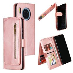 Multifunction 9 Cards Leather Zipper Wallet Phone Case for Huawei Mate 30 - Rose Gold