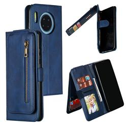 Multifunction 9 Cards Leather Zipper Wallet Phone Case for Huawei Mate 30 - Blue