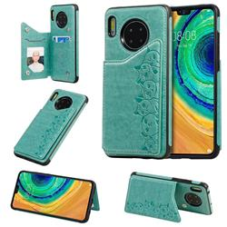 Yikatu Luxury Cute Cats Multifunction Magnetic Card Slots Stand Leather Back Cover for Huawei Mate 30 - Green