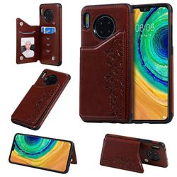 Yikatu Luxury Cute Cats Multifunction Magnetic Card Slots Stand Leather Back Cover for Huawei Mate 30 - Brown