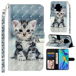 Kitten Cat 3D Leather Phone Holster Wallet Case for Huawei Mate 30
