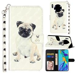 Pug Dog 3D Leather Phone Holster Wallet Case for Huawei Mate 30