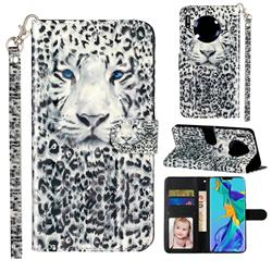 White Leopard 3D Leather Phone Holster Wallet Case for Huawei Mate 30