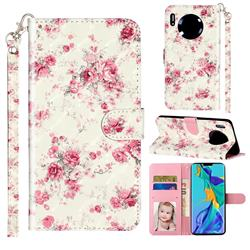Rambler Rose Flower 3D Leather Phone Holster Wallet Case for Huawei Mate 30