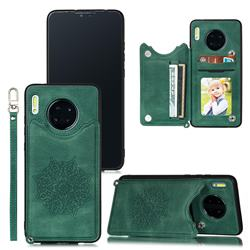 Luxury Mandala Multi-function Magnetic Card Slots Stand Leather Back Cover for Huawei Mate 30 - Green