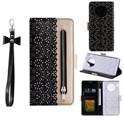 Luxury Lace Zipper Stitching Leather Phone Wallet Case for Huawei Mate 30 - Black