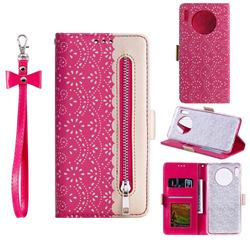 Luxury Lace Zipper Stitching Leather Phone Wallet Case for Huawei Mate 30 - Rose