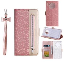 Luxury Lace Zipper Stitching Leather Phone Wallet Case for Huawei Mate 30 - Pink