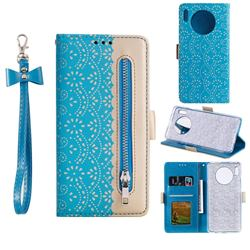 Luxury Lace Zipper Stitching Leather Phone Wallet Case for Huawei Mate 30 - Blue