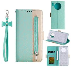 Luxury Lace Zipper Stitching Leather Phone Wallet Case for Huawei Mate 30 - Green