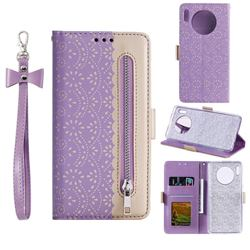 Luxury Lace Zipper Stitching Leather Phone Wallet Case for Huawei Mate 30 - Purple