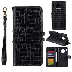 Luxury Crocodile Magnetic Leather Wallet Phone Case for Huawei Mate 30 - Black