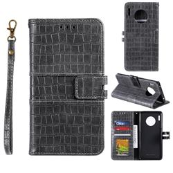 Luxury Crocodile Magnetic Leather Wallet Phone Case for Huawei Mate 30 - Gray