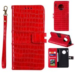 Luxury Crocodile Magnetic Leather Wallet Phone Case for Huawei Mate 30 - Red