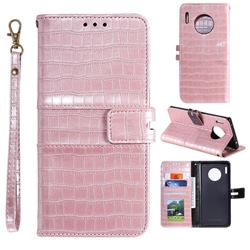 Luxury Crocodile Magnetic Leather Wallet Phone Case for Huawei Mate 30 - Rose Gold