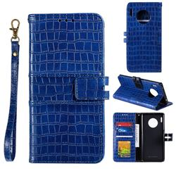 Luxury Crocodile Magnetic Leather Wallet Phone Case for Huawei Mate 30 - Blue