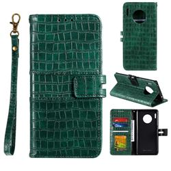 Luxury Crocodile Magnetic Leather Wallet Phone Case for Huawei Mate 30 - Green