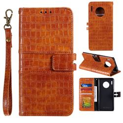 Luxury Crocodile Magnetic Leather Wallet Phone Case for Huawei Mate 30 - Brown