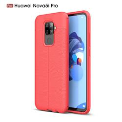 Luxury Auto Focus Litchi Texture Silicone TPU Back Cover for Huawei Mate 30 Lite(Nova 5i Pro) - Red