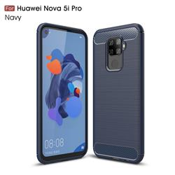 Luxury Carbon Fiber Brushed Wire Drawing Silicone TPU Back Cover for Huawei Mate 30 Lite(Nova 5i Pro) - Navy
