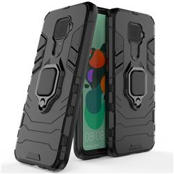 Black Panther Armor Metal Ring Grip Shockproof Dual Layer Rugged Hard Cover for Huawei Mate 30 Lite(Nova 5i Pro) - Black