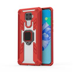 Predator Armor Metal Ring Grip Shockproof Dual Layer Rugged Hard Cover for Huawei Mate 30 Lite(Nova 5i Pro) - Red