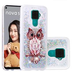Seashell Owl Dynamic Liquid Glitter Quicksand Soft TPU Case for Huawei Mate 30 Lite(Nova 5i Pro)