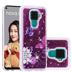 Purple Flower Butterfly Dynamic Liquid Glitter Quicksand Soft TPU Case for Huawei Mate 30 Lite(Nova 5i Pro)